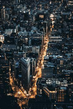 NYC. Night view of Flatiron District