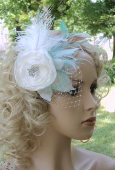 Ostrich Feather Hair Clip Bridal Fascinator by TheFeatheredEdge, $85.00