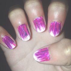 pink purple glittery nails