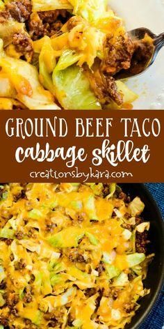 Cabbage Casserole, Beef Casserole, Casserole Recipes, Skillet Cabbage Recipe, Cabbage Tacos, Cabbage And Beef, Recipe With Ground Beef And Cabbage, Recipes With Cabbage, Mexican Food Recipes