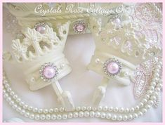 French Ivory Crown Hooks with Pearls Your by sweetlilboutique, $24.00