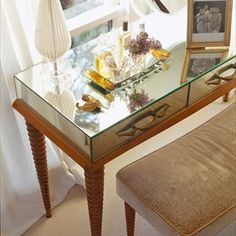 Jan Showers | InteriorDesign | PRIVATE SPACES Featuring Jan Showers Collection Jan's Dressing Table and Bench.
