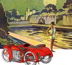 Flapper Girl Indian Motorcycle Tricycle Vintage 1920s Roaring Twenties Advertisement Engraving Print To Frame
