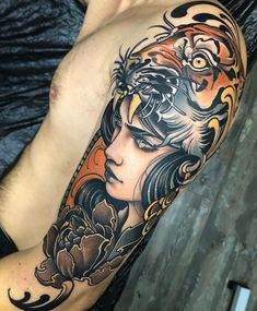 Traditional Tattoo Girl Face Old School Inspirational Ideas Tattoo On, Head Tattoos, Cover Tattoo, Body Art Tattoos, Girl Tattoos, Sleeve Tattoos, Tattoos For Guys, Traditional Tattoo Girls, Traditional Sleeve
