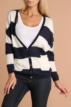MP Kinsey Long Sleeve Cardigan Sweater In Navy And Natural - Beyond the Rack