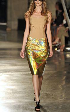 Jonathan Saunders Gold and White Clark Skirt, S/S 2013