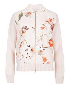 Botanical bloom bomber jacket - Pale Pink | Knitwear | Netherlands Site