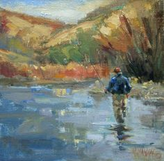 Fishing Upriver - fly fishing northwest art , painting by artist Mary Maxam