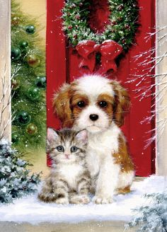 Diamond Painting The Dog and the Cat Before Christmas Paint with Diamonds Art Crystal Craft Decor Christmas Scenes, Noel Christmas, Christmas Animals, Christmas Cats, Christmas Pictures, Before Christmas, Vintage Christmas, Christmas Artwork, Christmas Paintings
