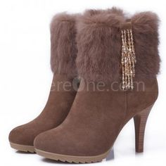 Fashion Cow leather Crystal fringe high heel boots with fur