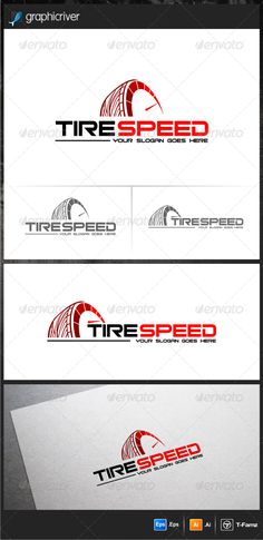 Tire Speed Logo Templates #GraphicRiver -100% vector -AI,EPS files -Resizable easy to edit the text and slogan Full Instru