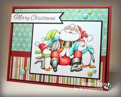Art Impressions Rubber Stamps: Santa & Penguins (Sku #4170) and Merry Christmas (sku #4166)  Handmade card.