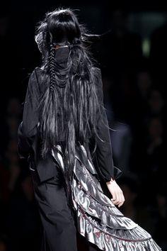 runway, long black hair, goth, gothic, dark fashion, witchy, bohemian