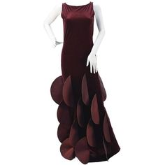 Preowned Pierre Cardin Evolution Burgundy Stretch Velvet Evening Gown ($1,650) ❤ liked on Polyvore featuring dresses, gowns, red, couture evening gowns, cocktail dresses, holiday dresses, evening dresses and special occasion dresses