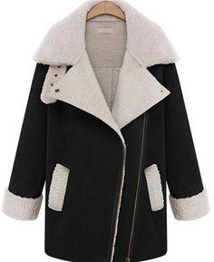Fashion-Womens-Winter-Big-Lapel-Inclined-Zipper-Pocket-Long-Outwear-Trench-Coat