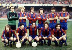 Temporada 1980-81. Artola, Schuster, Martínez, Zuviría, Olmo, Alexanko /// Simonsen, Estella, Quini, Esteban i Ramos