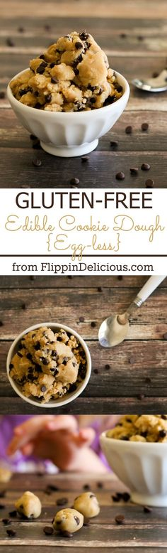 Gluten free edible cookie dough, perfect for eating by the spoon, topping brownies, or putting in ice cream. #glutenfree #cookiedough