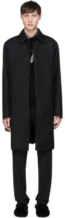 Prada Black Wool Twill Trench Coat