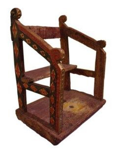 Gothic Chair, c1300, Castile Spain. Original wood and red polychrome, 62cm x 43cm x 37 cm deep.