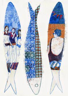 Newspaper Design, Inspiration Art, Fish Print, Fish Design, Arte Popular, Pallet Art, Pattern Art, Portugal, Deco