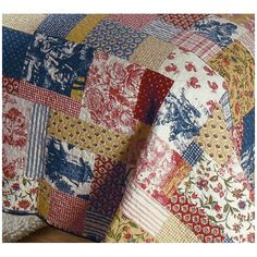 tan, red, navy quilt | French Country Garden Floral Toile Quilt Set