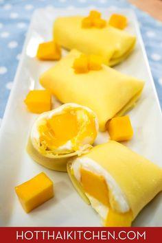 """Better"" Hong Kong Mango Pancake (Dim Sum Style) - Pai's Kitchen Mango Sauce, Yummy Food, Good Food, Frugal Meals, Dim Sum, Cooking Recipes, Fun Recipes, Delicious Recipes, Asia"