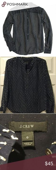 EUC J.CREW Silk Dash-Dot Blouse Featuring a chic new take on swiss-dot, this airy blouse looks polka-dotted from far away (those are actually little lines). Up close, the textured trim really pops.  Silk/poly.Button placket.Long sleeves.Functional buttons at cuffs.Dry clean J. Crew Tops Blouses