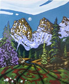 K Neil Swanson Artwork in Canada House Gallery Canada House, Artwork Display, Canadian Artists, Aerial Photography, Landscape Paintings, Fashion Art, Folk Art, Gallery, Mountains