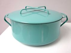 Vintage Dansk Kobenstyle Turquoise Dutch Oven by findingAmandine, turquoise-and-red-kitchen