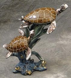 Swimming Sea Turtle Duo Sea Grass and Stone Base Accent Statue Sculpture New IB