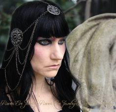 CUSTOM Reserved for Heaven ONLY Headdress Black Widow Headpiece Elegant Dark Beauty Web Of Chains. $78.00, via Etsy.