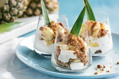 Pineapple & gingernut parfait Flavours of ginger, coconut and pineapple give this classic French dessert recipe a tropical twist. Classic French Desserts, French Dessert Recipes, French Recipes, Tropical Desserts, Spring Desserts, Ginger Nut Biscuits, Dessert In A Jar, Dessert Ideas, Parfait Recipes