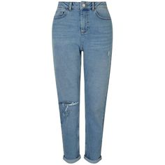 Miss Selfridge MOM Mid Blue Knee Ripped Jeans (2.205 RUB) ❤ liked on Polyvore featuring jeans, pants, bottoms, pantalones, calças, mid wash denim, medium wash jeans, medium wash distressed jeans, destruction jeans and destroyed jeans