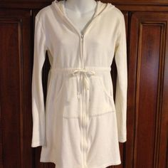 PINK by Victoria's Secret White Terry Robe - Med This robe is in great condition.  The size says medium, but it's a smaller medium. It's made of 90% cotton 10% polyester.  Machine wash warm - tumble dry low PINK Victoria's Secret Intimates & Sleepwear Robes