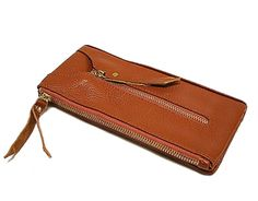 GENUINE LEATHER MULTI-COMPARTMENT PURSE WITH KEY HOLDER - TAN, £12.99
