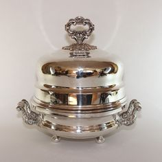 Antique French Silverplate Meat Dome with Warmer and candles