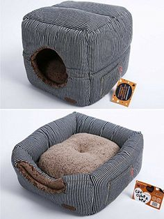 """Smiling Paws Pets Unique 2-in-1 Cat Bed/Cat Condo & Cat House 