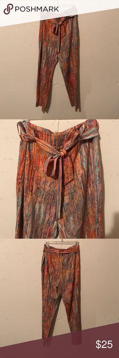 Multi Colored Catherine Malandrino Pants Multi Colored Catherine Malandrino Pants silk/spandex blend with tie belt Catherine Malandrino Pants Trousers