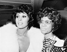 Diahann Carroll and New York Congresswoman Shirley Chisholm on April 22, 1974 at…