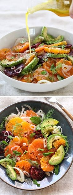 Citrus, Avocado and Fennel Salad Ajouter des crevettes pour une salade-repas Raw Food Recipes, Salad Recipes, Vegetarian Recipes, Cooking Recipes, Healthy Recipes, Fennel Recipes, Fast Recipes, Healthy Salads, Healthy Eating