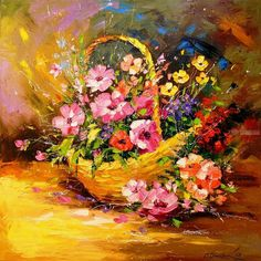 Buy Basket with flowers, Oil painting by Olha Darchuk on Artfinder. Discover thousands of other original paintings, prints, sculptures and photography from independent artists. Bright Colors Art, Original Paintings, Original Art, Arte Floral, Nature Paintings, Gravure, Texture Art, Oil Painting On Canvas, Art Forms