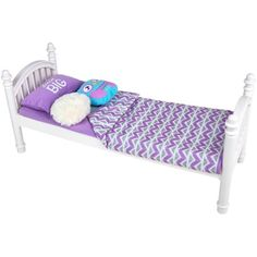 My Life As 6-Piece Bed Set, White and Purple, for 18 inch Dolls American Girl Beds, American Girl Furniture, Bed Frame With Mattress, Bed Sheets, Doll Beds, Rest And Relaxation, Slumber Parties, Cozy Bed, Bed Spreads