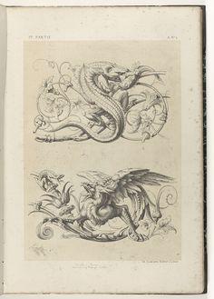 Draak en griffioen op een bladrank, Michel Liénard, 1866