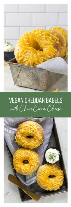 Vegan Cheddar Bagels with Chive Cream Cheese - Eat. Drink. Shrink. Vegan Breakfast, Breakfast Recipes, Vegan Cream Cheese, Vegan Bread, Dry Yeast, Bread Recipes, Vegan Vegetarian, Drink