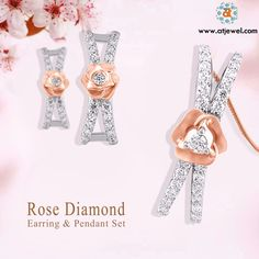 #Atjewel Stunning Rose Diamond Pendant Set Which Having a Beautiful Design & Round Cut Diamond. #Atjewel #Diamond #Pendant #Gold #Stylish #Lovely