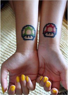 """Cute tattoos - Power Ups Super Mario (only the green one w/the words """"You are my 1-up"""""""