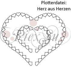 Plotterdatei Herz aus Herzen- Ein Herz aus Herzen als Plotterdatei für deinen Schneideplotter. Mit dieser Plotterdatei erstellst Du z. B. ein Bügelbild.