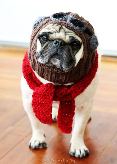 The Red Baron - Dog Hat and Scarf Set - Pug Hat - Avaiator Hat - Dog Costume - Pet Clothing - Pet Supplies (38.00 USD) by AllYouNeedIsPugShop