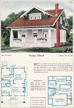 c. 1923 C. L. Bowes - 10554-B ~ This larger than average bungalow home was typical of the style as it was expressed during the early 1920s. This plan is open with a small den off the living room, fireplace, and large dining room. Upstairs, there are three bedrooms and a bath.