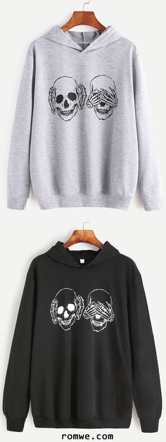 Light Grey & Black Skull Print Hooded Sweatshirt